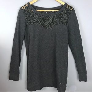 Victoria's Secret grey lace oversized sweatshirt